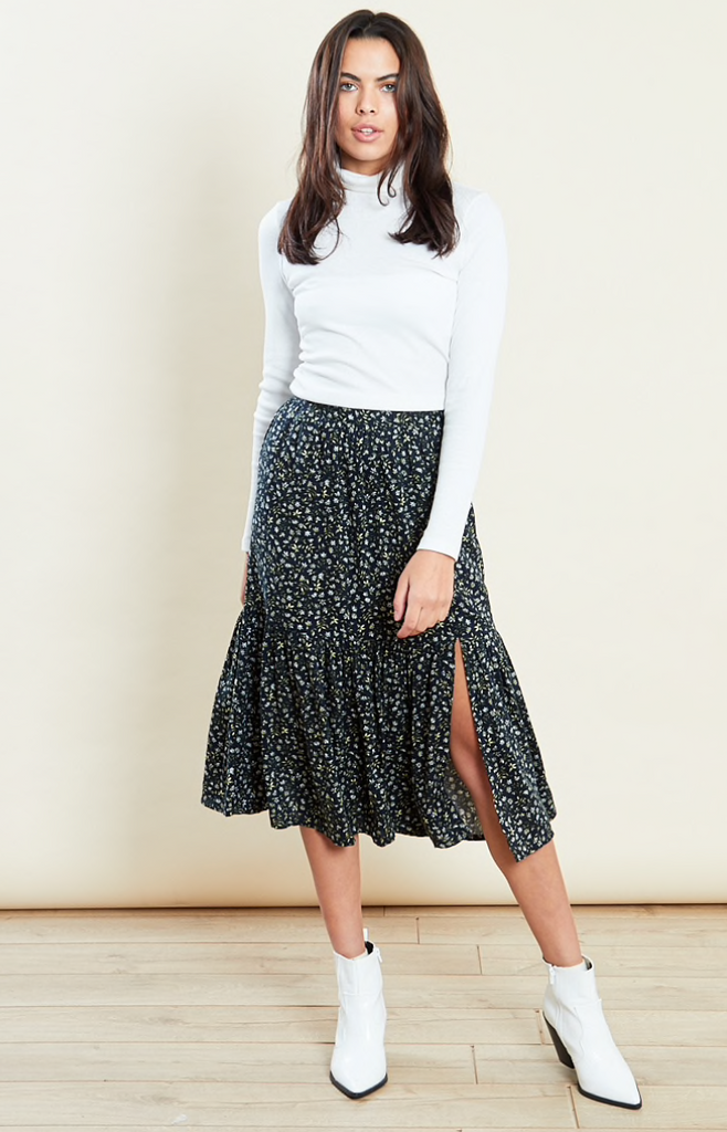 Ditsy Black & green floral skirt