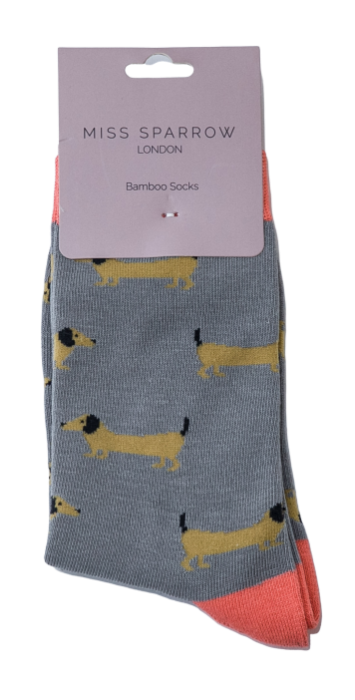 Grey & Peach sausage dog  Socks