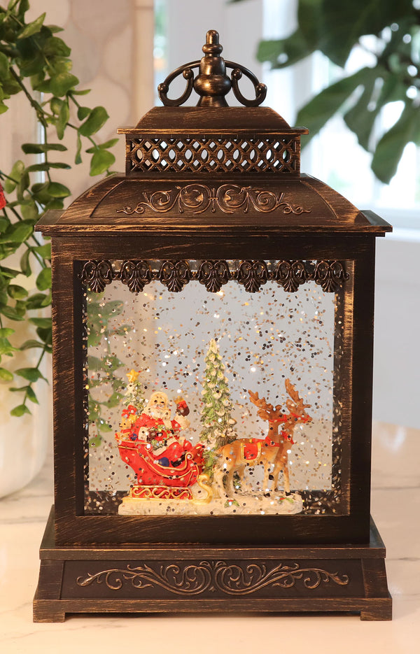 Santa Sleigh Lighted Snow Globe Battery Operated with Optional Music Setting -Timer - 2428570