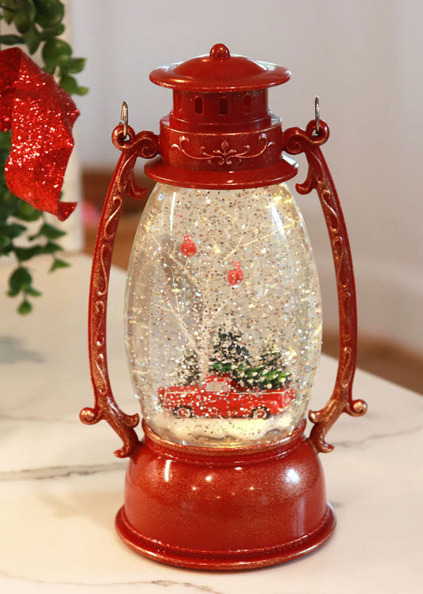 Red Hurricane With Red Truck Lighted Water Lantern With Swirling Glitter - Timer - 2429050-truck