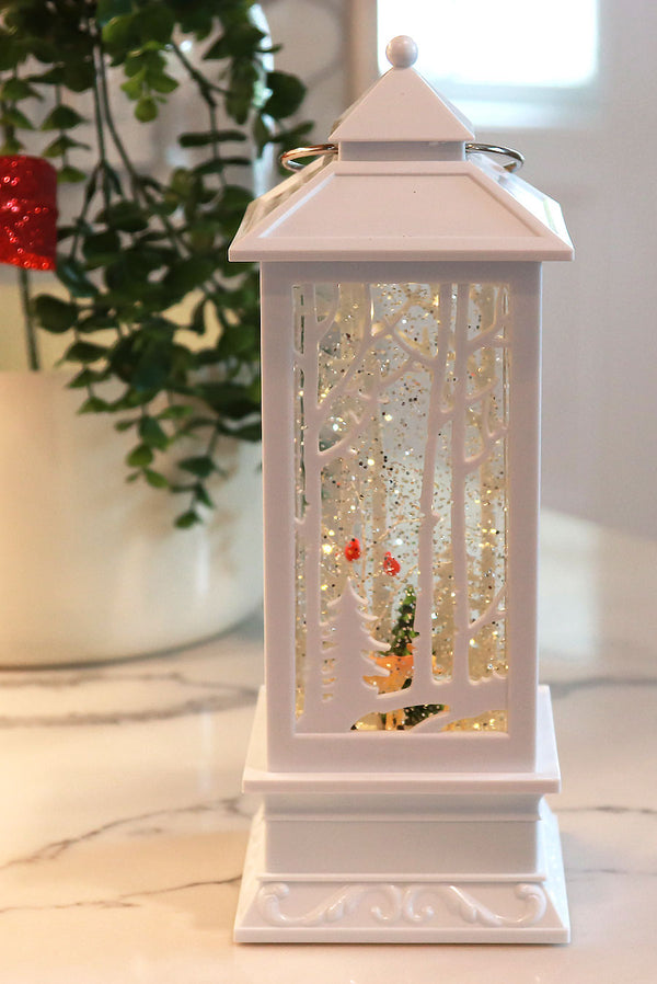 White Carved Design Lighted Water Lantern With Forest Creatures - 2429130-deer