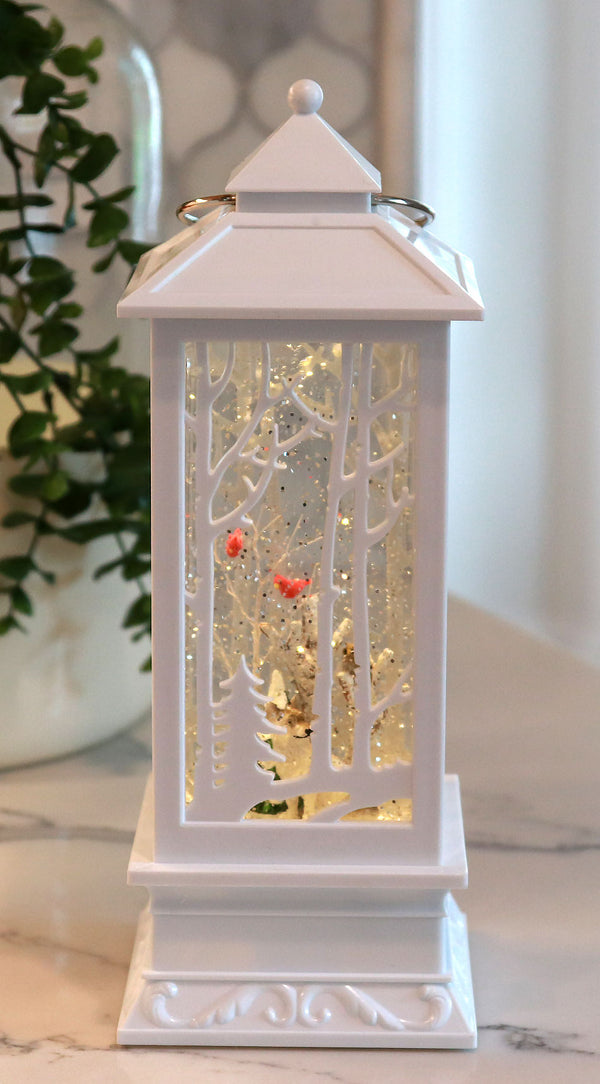 White Carved Design Lighted Water Lantern With Forest Creatures - 2429130-wolf