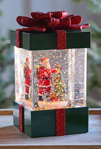 Santa In A Gift Box Lighted Snow Globe Battery Operated with Optional Music Setting -Timer - 2436850