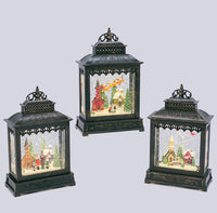 3 Assorted Musical Lighted Spinning Water Lanterns - Town Carolers, Flying Santa, Horse & Carriage - 2497340 - NEW 2019