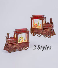 Lighted Train Water Lantern With Swirling Glitter With Optional Music Setting - 2497420-Gerson