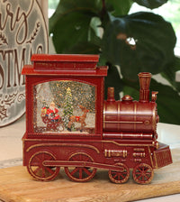 Lighted Train Water Lantern Santa Sleigh With Swirling Glitter With Optional Music Setting - 2497420