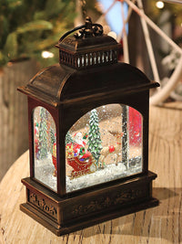 8 Inch Santa Sleigh and Reindeer Lighted Water Lantern In Swirling Glitter - 2497460 NEW 2019