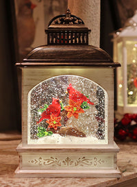 8.25 Inch Lighted Cardinal Glitter Water Lantern Battery Operated - 2497500 NEW 2019-Gerson