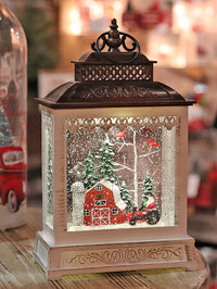 11 Inch Red Barn Home On The Farm  Lighted Snow Globe With Optional Music Setting Battery Operated - 2497520