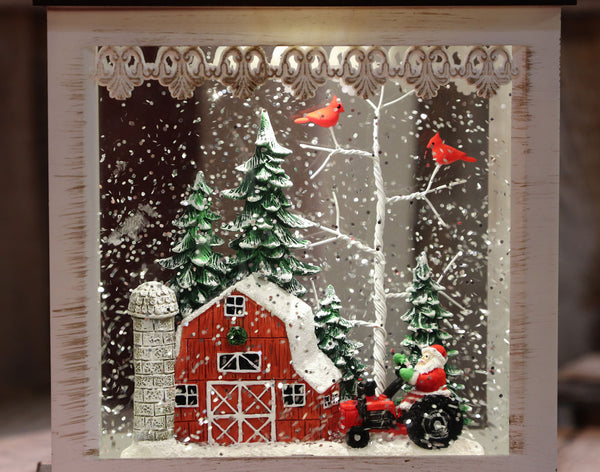 11 Inch Red Barn Home On The Farm Lighted Snow Globe With