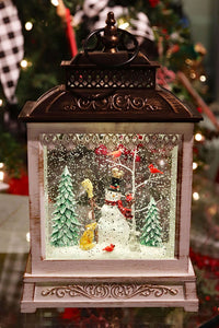 Lighted Spinning Musical Water Lantern - Snowman - 2497530