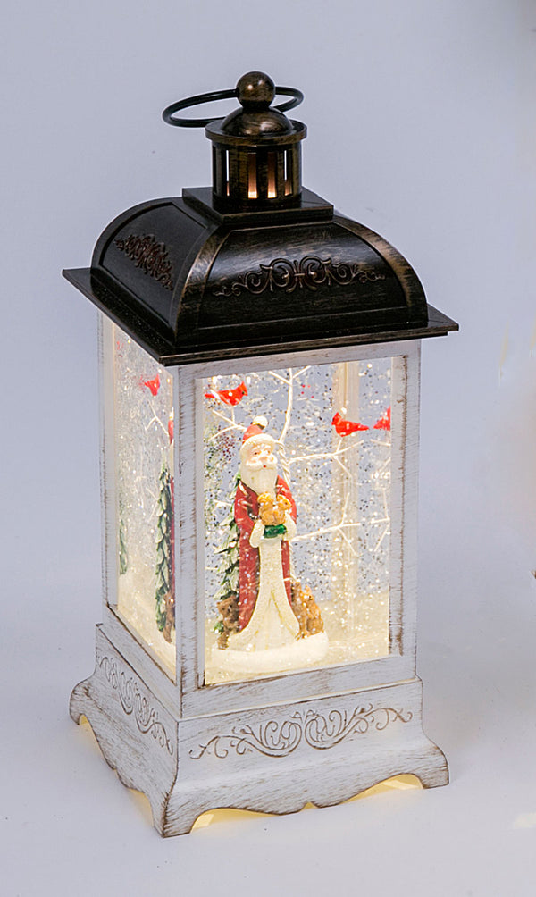 10.5 Inch Old World Santa White Lighted Water Lantern With Swirling Glitter - 2497550-SANTA