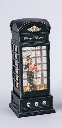 9.8 Inch Lighted Spinning Water Globe Halloween Phone Booth With Timer - 2497610