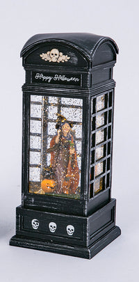 9.8 Inch Lighted Spinning Water Globe Halloween Phone Booth With Timer - 2497610-Gerson