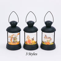 7 Inch Round Black Lighted Spinning Water Globe Halloween Lantern With Timer - 2497640-Gerson