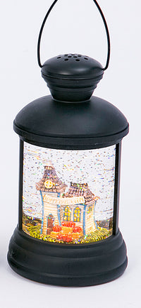 7 Inch Round Black Lighted Spinning Water Globe Halloween Lantern With Timer - 2497640