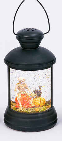 Round Black Lighted Spinning Skeleton Halloween Water Globe - 2497640