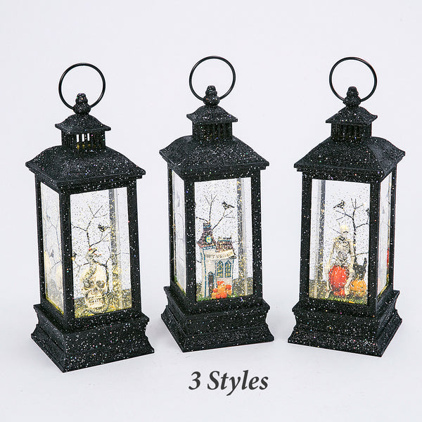 11 Inch Black Glitter Lighted Spinning Water Globe Halloween Lantern With Timer - 2497670