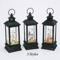 11 Inch Black Glitter Lighted Spinning Water Globe Halloween Lantern With Timer - 2497670-Gerson