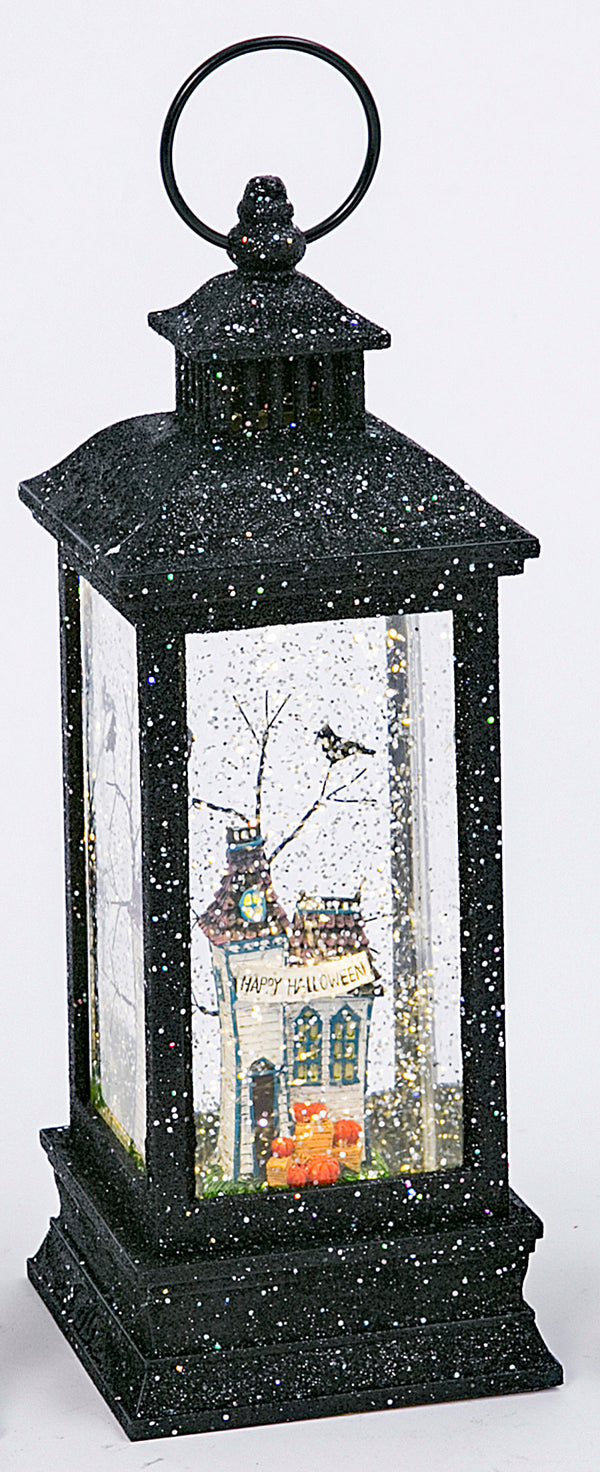 Black Glitter Haunted House Lighted Spinning Halloween Water Lantern - 2497670