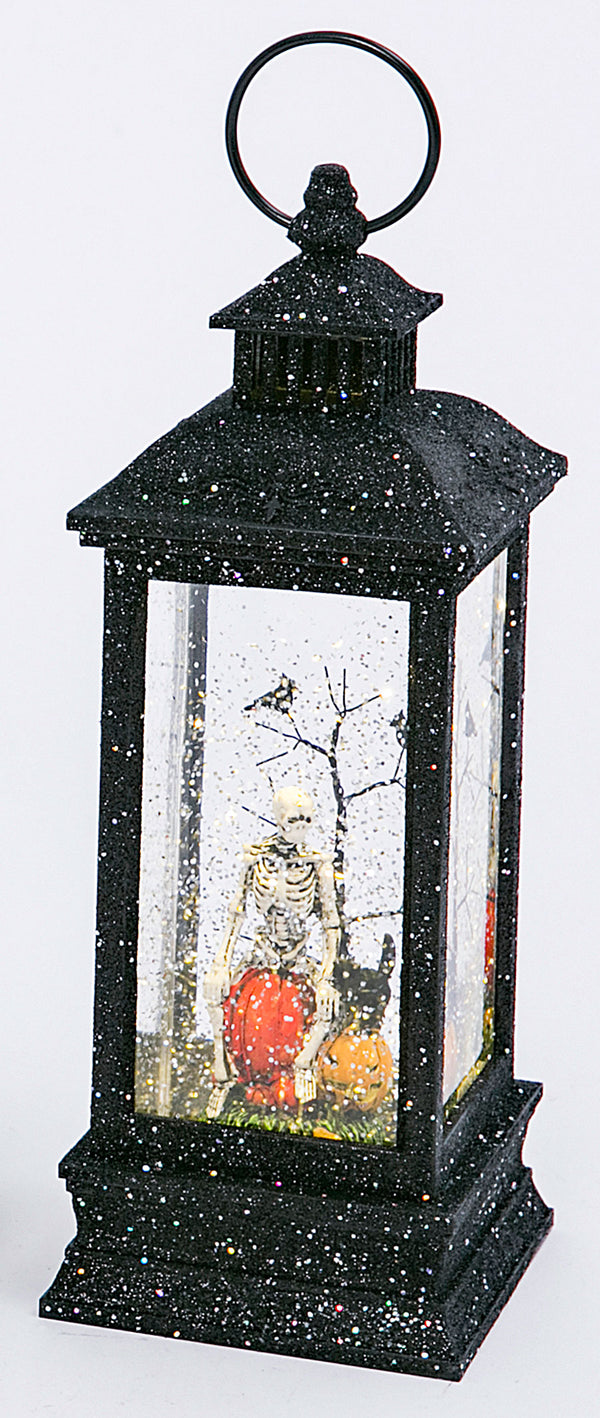 Black Glitter Skeleton Lighted Spinning Halloween Water Lantern - 2497670