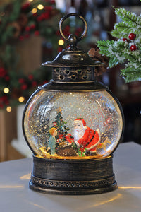 11 Inch Santa With Toys Lighted Water Lantern with Swirling Glitter - 2498810