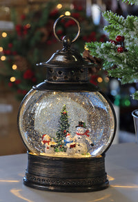 11 Inch Caroling Snowmen Wide Lighted Water Lantern with Swirling Glitter - 2498810