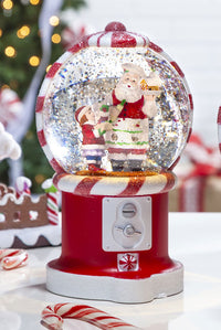 7.5 Inch Santa Baking Gumball Machine Lighted Spinning Water Globe With Swirling Glitter - 2499020-Santa