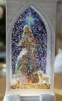 12 Inch LED Lighted Church Water Lantern Snow Globe Nativity Scene With Wreath - 2535530