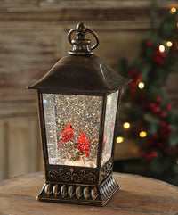 11.5 Inch Lighted Cardinal Scene Glitter Water Lantern Battery Operated - 2548290-holly