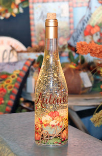 Thanksgiving Lighted Bottle Autumn Design Lighted Water Lantern Battery Operated With Timer - 12 Inch - 2548400-autumn