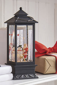 11 Inch Santa and Snowman Lighted Water Lantern With Swirling Glitter - 3700778