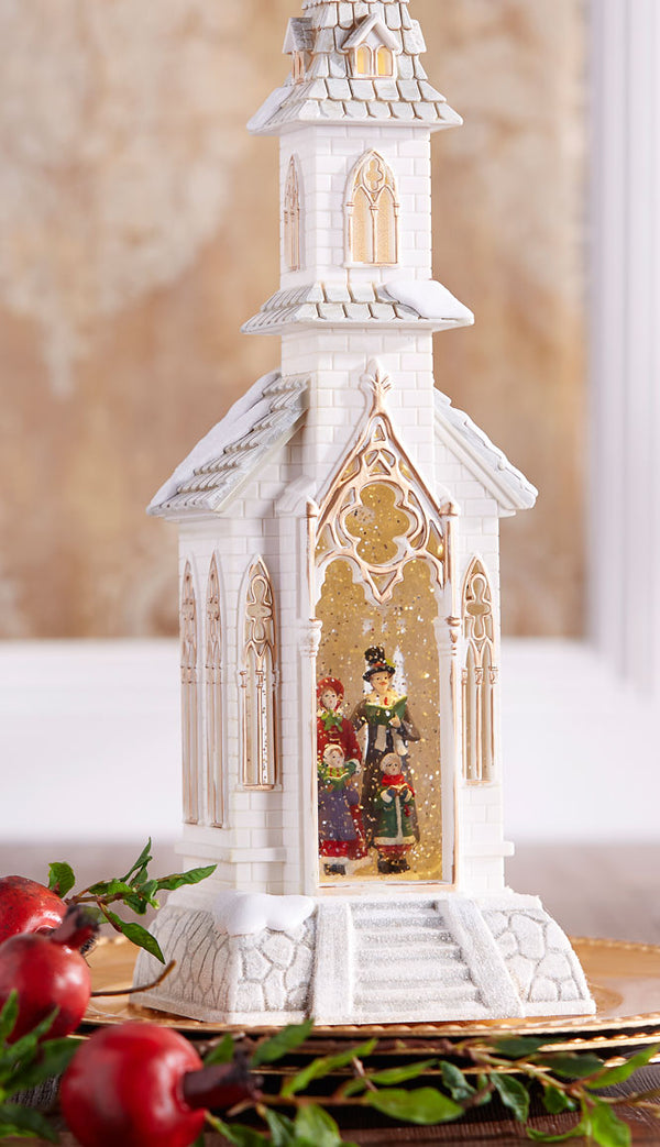18 Inch White Lighted Water Church with Carolers Swirling Glitter With Timer - 3740508