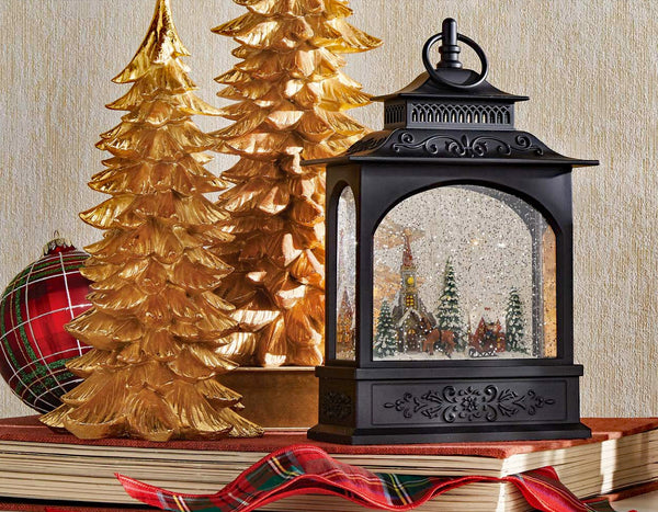 11 Inch Town Scene Lighted Water Lantern With Swirling