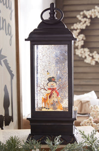 11 Inch Snowman Lighted Water Lantern With Swirling Glitter - 3800776