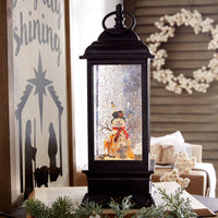 11 Inch Snowman Lighted Musical Water Lantern With Swirling Glitter - 3800776