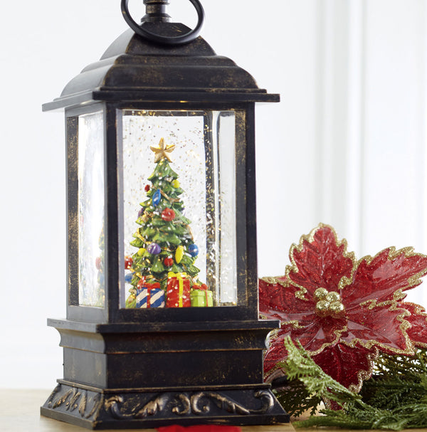 9.5 Inch Christmas Tree Lighted Water Lantern with Swirling Glitter - 3800778-RAZ