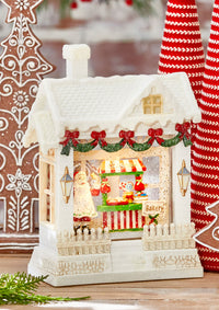 Santa In The Kitchen Lighted Water House With Swirling Glitter - Christmas Snow Globe - 3800779-RAZ