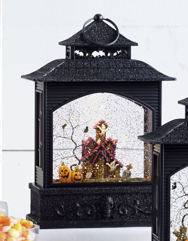 11 inch halloween lighted water lantern haunted house with swirling glitter 3800784