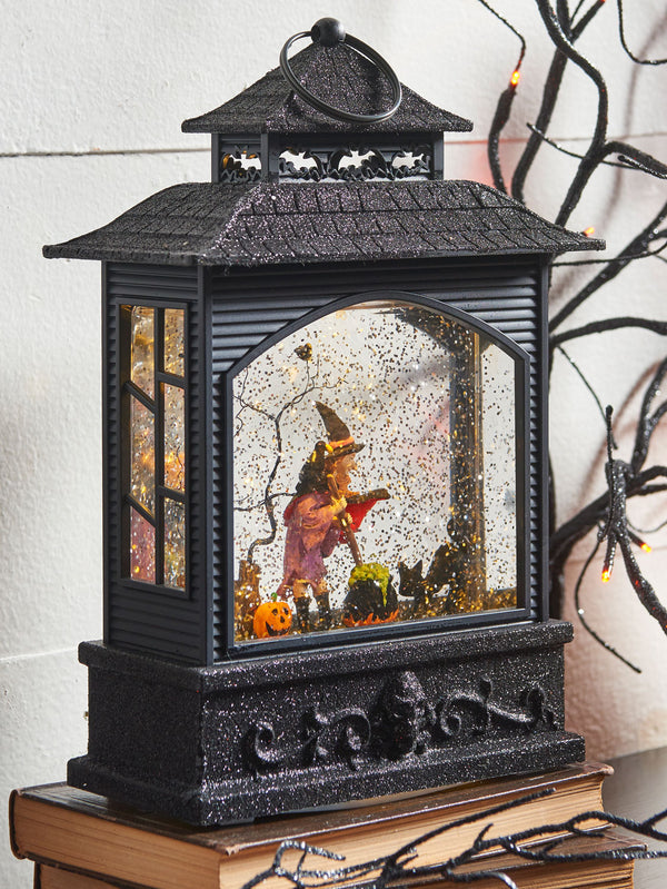 11 Inch Halloween Lighted Water Lantern Witch with Swirling Glitter - 3800785
