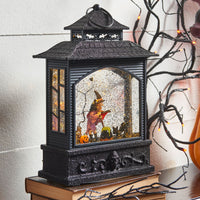 11 Inch Halloween Lighted Water Lantern Witch with Swirling Glitter - 3800785-RAZ