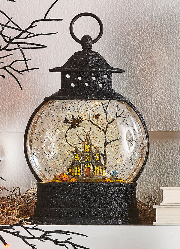 10 Inch Glitter  Halloween Lighted Water Lantern Haunted House with Swirling Glitter - 3900799 - NEW 2019