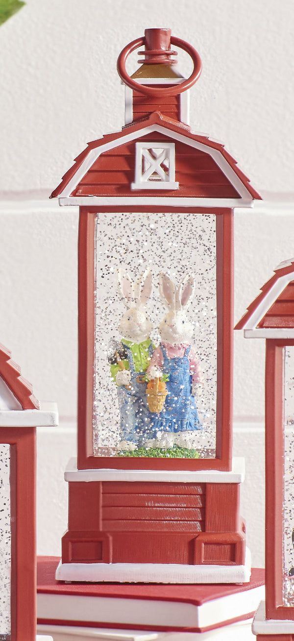 Rabbits Lighted Barn Water Lantern Battery Operated In Swirling Glitter With Timer - 3900755