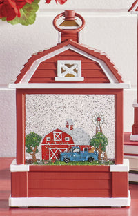 Farm Scene Lighted Barn Water Lantern Battery Operated In Swirling Glitter With Timer - 3900756