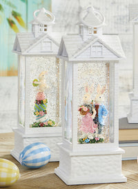 11.75 Inch Bunny Couple Lighted Gazebo Water Lantern Battery Operated With Timer - 3900758-RAZ