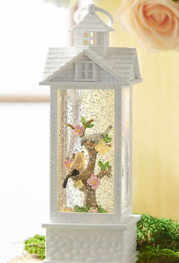 Birds In Lighted White Gazebo Water Lantern Battery Operated With Timer 11.75 Inch - 3900759