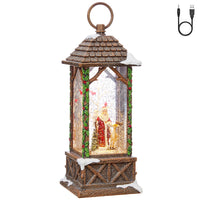 11 Inch Old World Santa With Forest Animals In Carved House Lighted Water Lantern In Swirling Glitter - 3900763 - NEW 2019