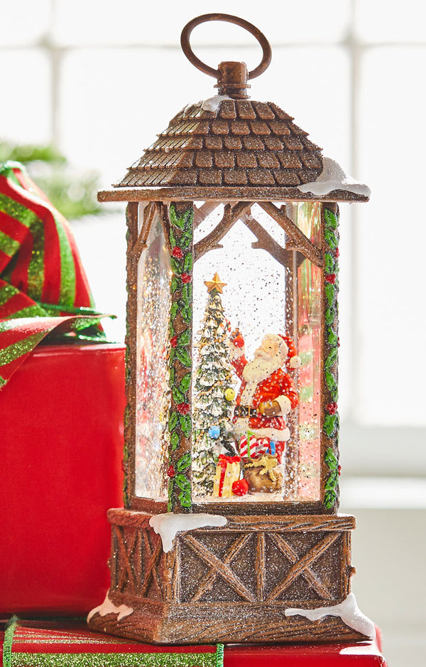 11 Inch Santa Decorating Tree In Carved House Lighted Water Lantern In Swirling Glitter - 3900770 - NEW 2019