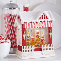 Santa's Bakery Gingerbread Family Lighted Water House Musical Lantern With Swirling Glitter - 3900792 - NEW 2019