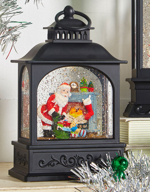 8 Inch Santa By The Fireplace Lighted Water Lantern In Swirling Glitter - 3900793 - NEW 2019
